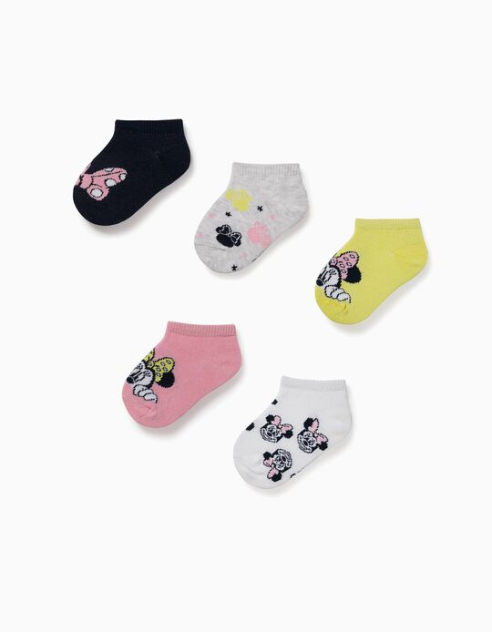 5 Pairs of Ankle Socks for Baby Girls, 'Minnie Mouse', Multicoloured