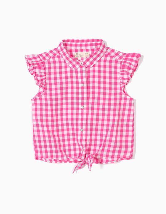 Blusa para Menina Xadrez Vichy, Rosa