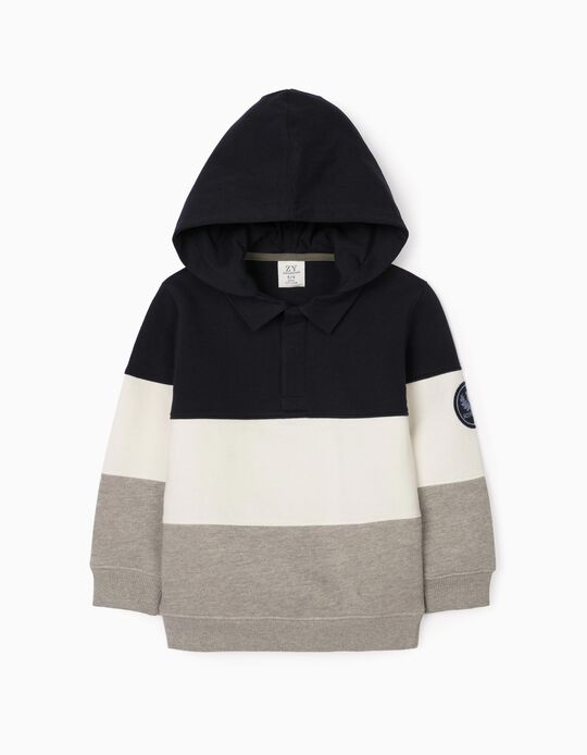 Hoodie for Boys, Blue/White/Grey