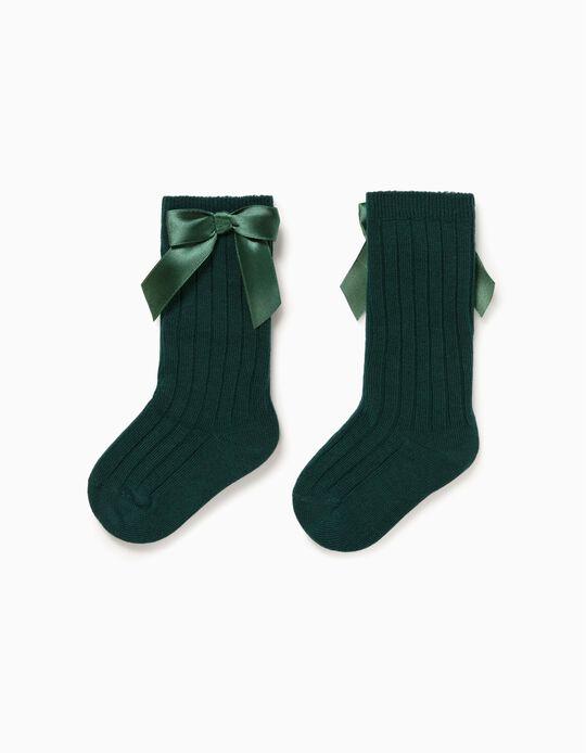 Knee-High Socks for Baby Girls, Green