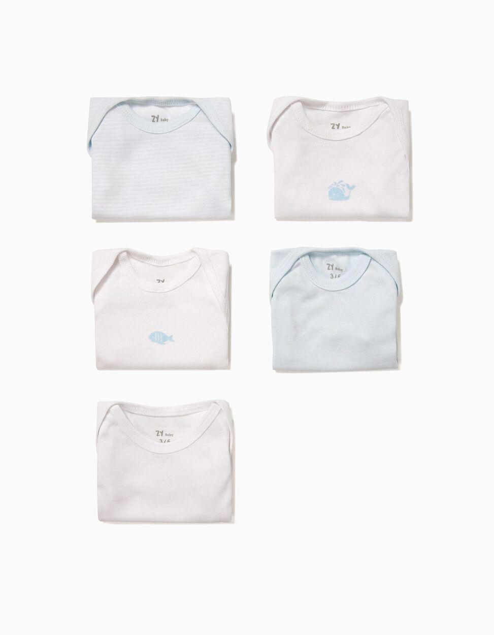 Pack 5 Bodies Azul e Branco