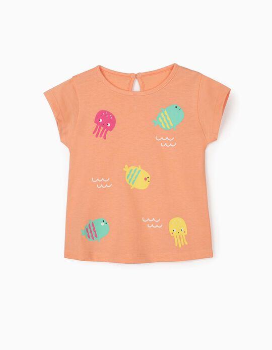 T-shirt para Bebé Menina 'Sea Animals', Laranja