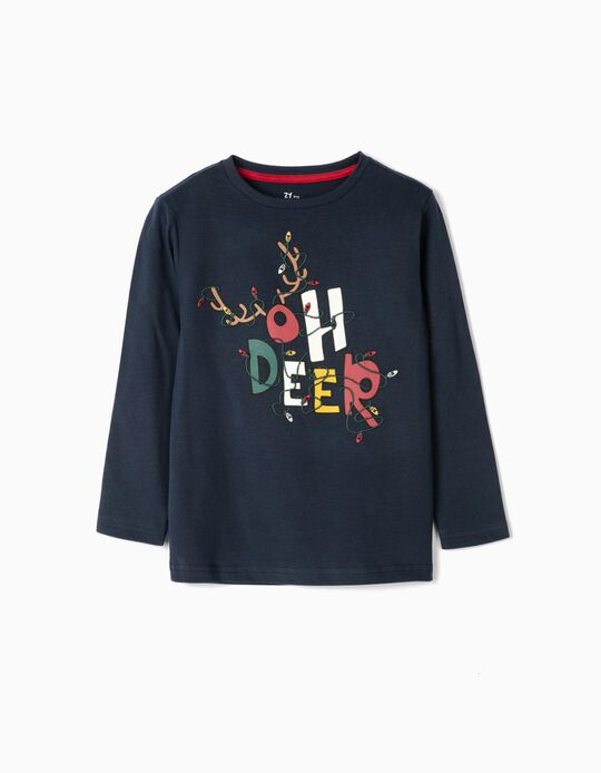 Long Sleeve Top for Boys, 'Oh Deer', Dark Blue