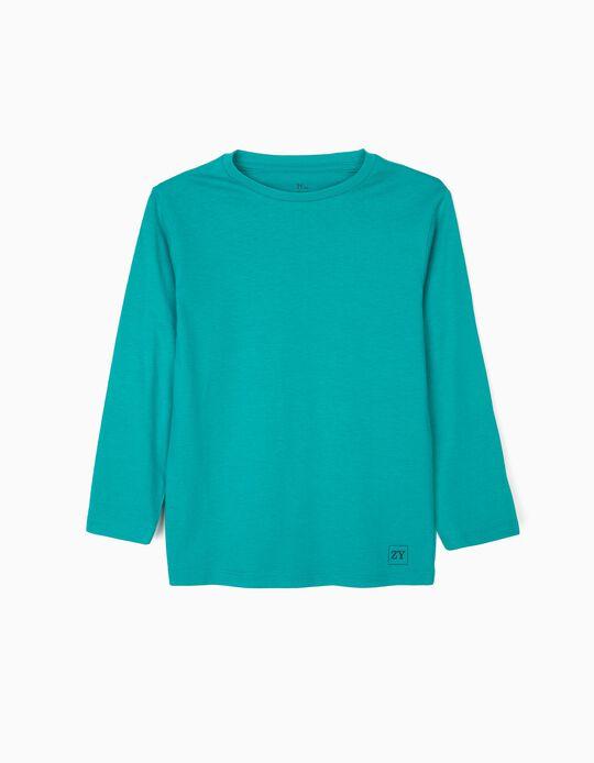 T-shirt Manga Comprida Básica para Menino, Verde-Azulado