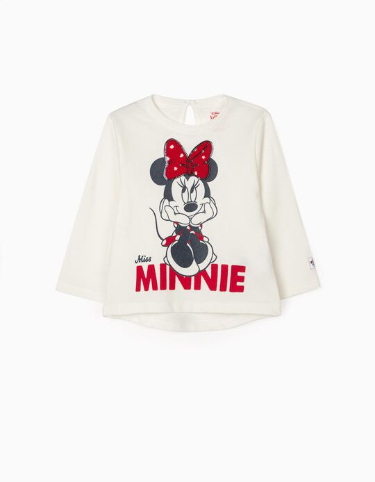 T-Shirt Manga comprida para Bebé Menina 'Minnie', Branco
