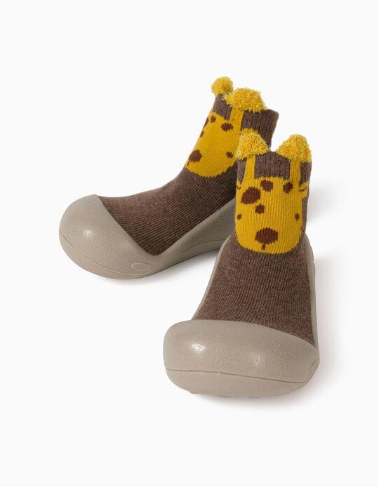 Meias-Pantufas Antiderrapantes para Bebé 'Giraffe', Castanho