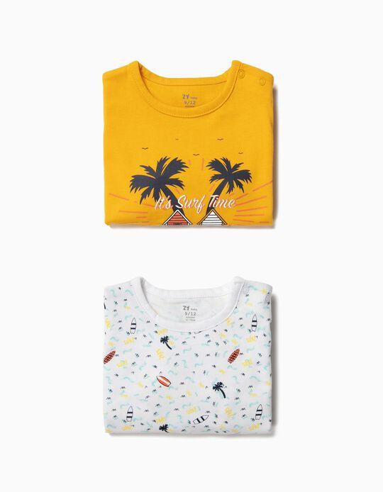 2 Babygrows para Bebé Menino 'Surf Time', Amarelo e Branco
