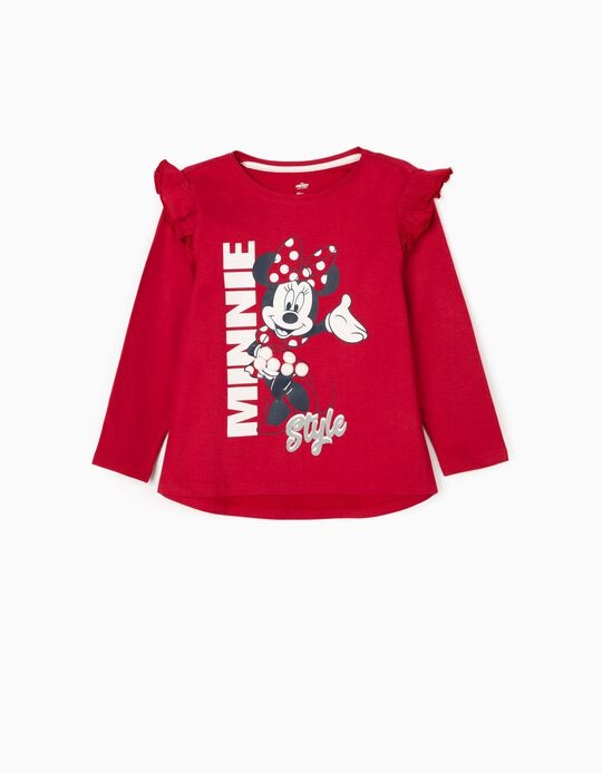 Long Sleeve T-Shirt for Girls 'Minnie', Red