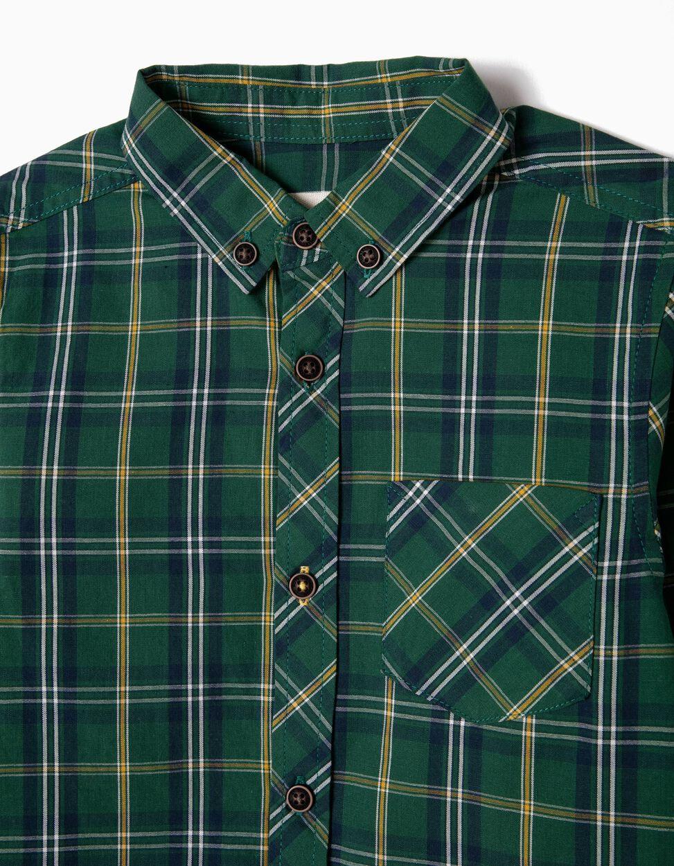 Camisa Xadrez com Bolso Bege e Azul