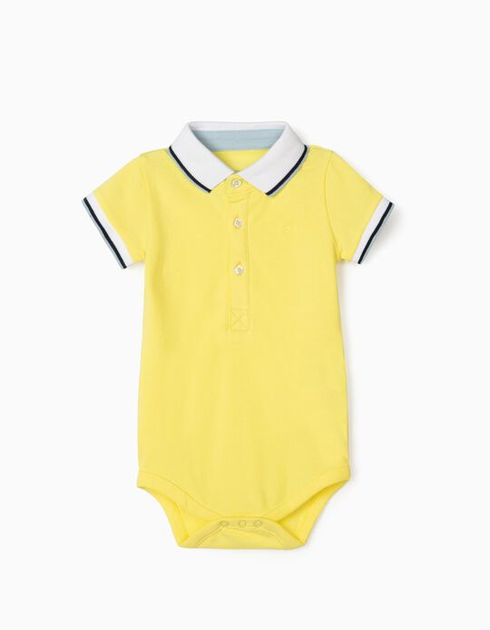Polo Shirt Bodysuit for Baby Boys, Yellow