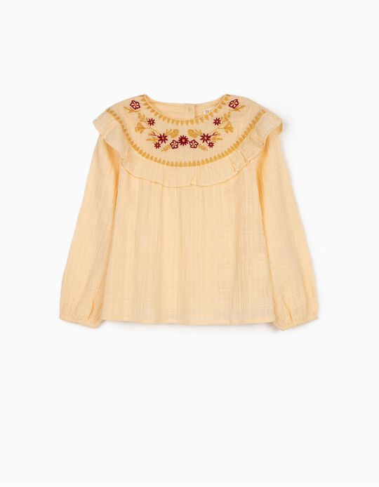 Blouse with Embroideries for Girls, Cream