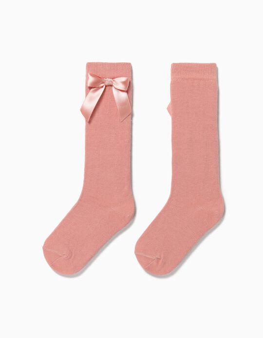 Knee High Socks with Bow for Girls, Pink