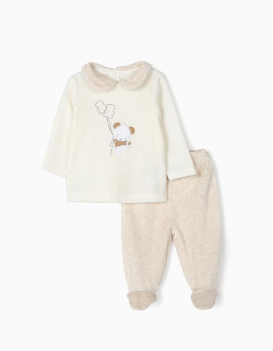 Velvet Pyjamas for Baby 'Cute Bear', White/Beige