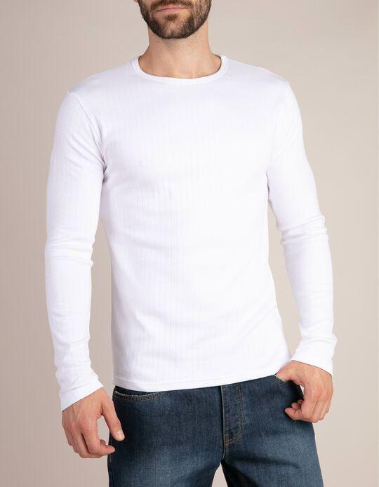 2 T-shirts Interiores Manga Comprida, Homem, Branco