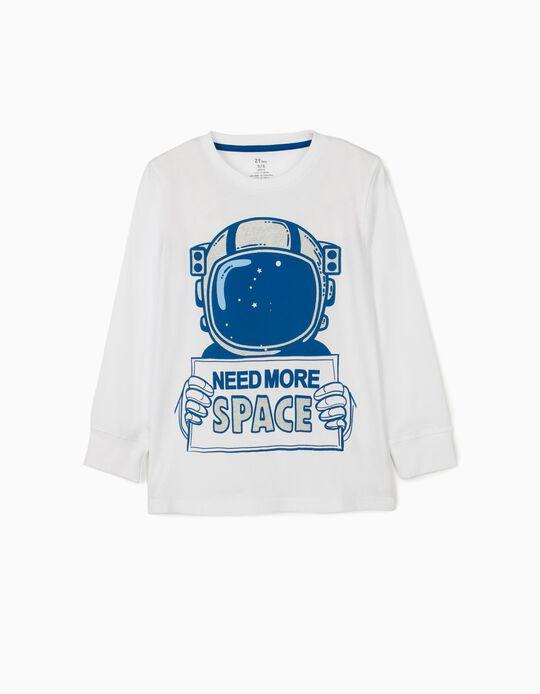 T-shirt Manga Comprida para Menino 'Space', Branco