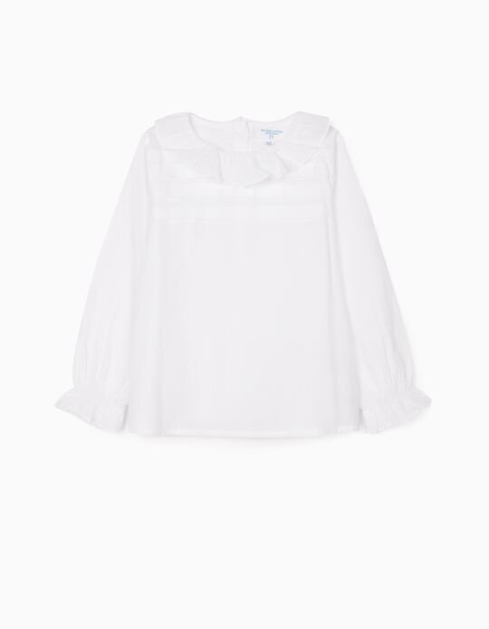 Blouse with Ruffles for Girls 'B & S', Branco