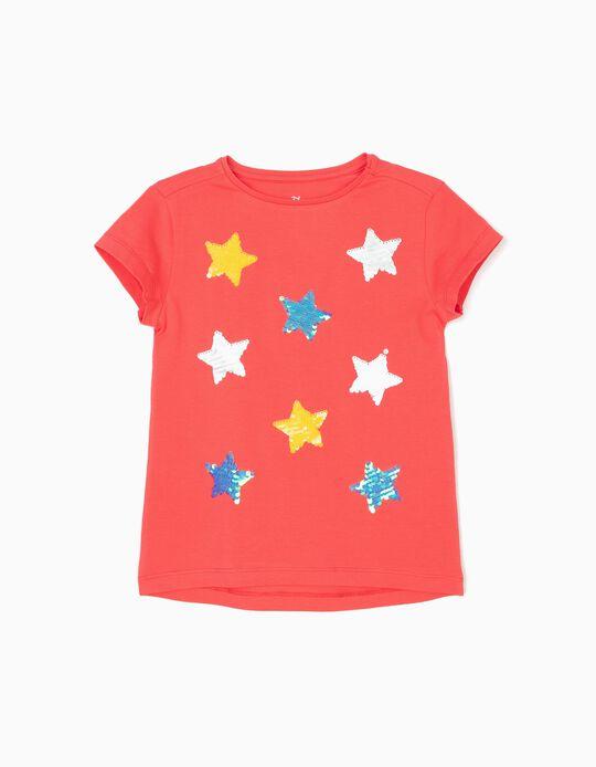 T-shirt para Menina 'Stars', Coral