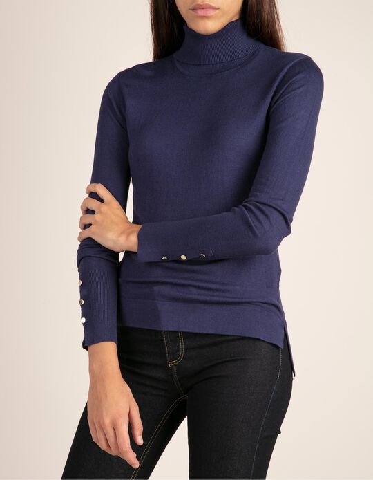 Turtle neck top with buttons on the sleeve