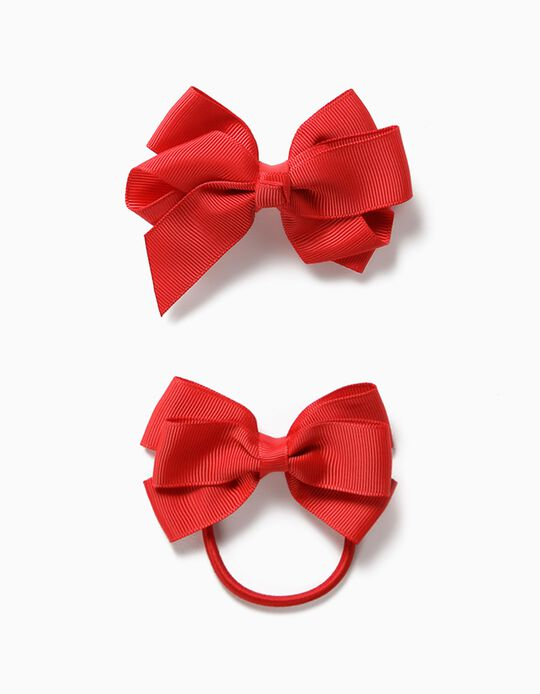Pack with Hair Slide + Bobble for Girls, 'Bows', Red