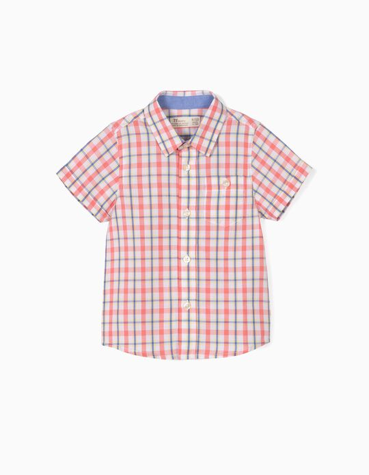 Check Shirt for Baby Boys, Coral