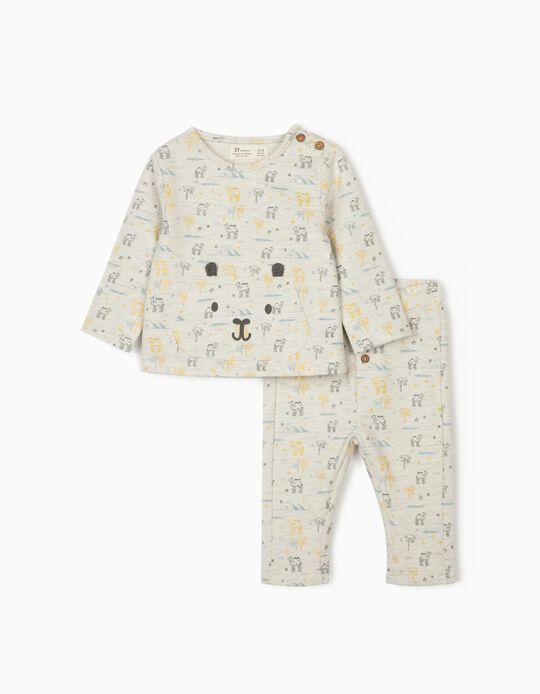 Tracksuit for Newborn Baby Boys, 'Camels', Marl Grey