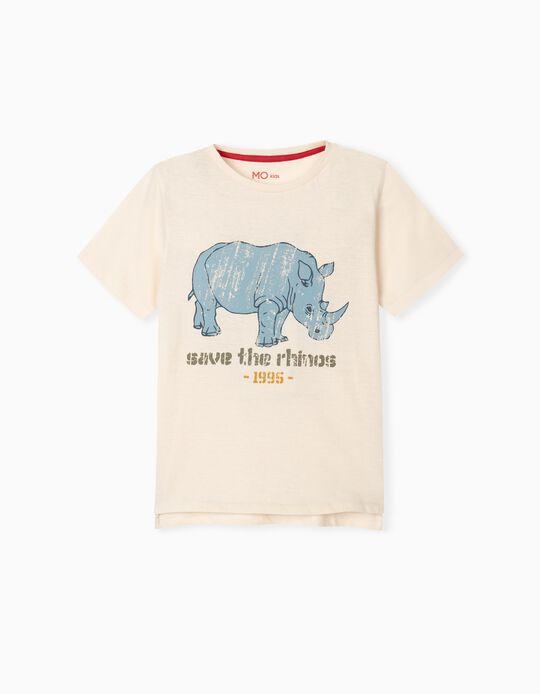 T-shirt com Estampado, 'Rhinos'