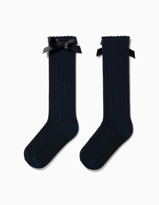 Knee-High Socks with Bow for Girls, Dark Blue