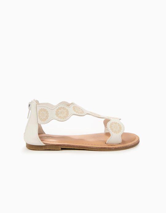 Sandálias para Menina com Flores, Branco