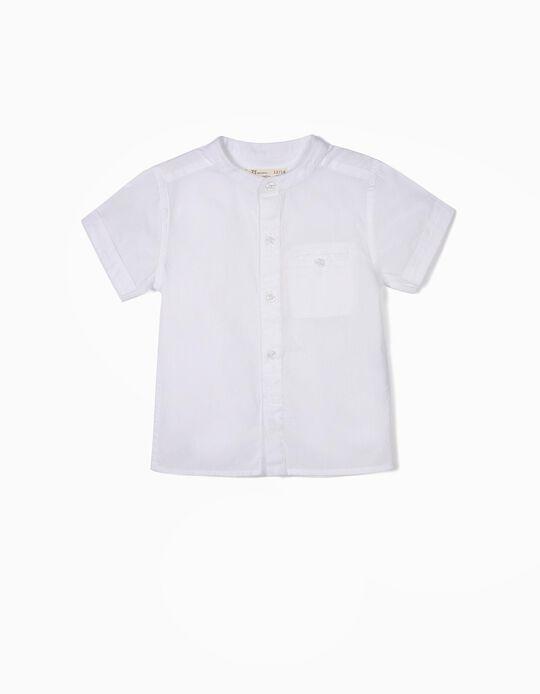 Camisa para Bebé Menino com Gola Mao, Branco