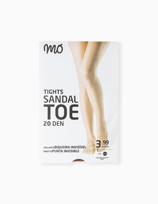 Invisible Toe Tights, 20 DEN, Women, Beige