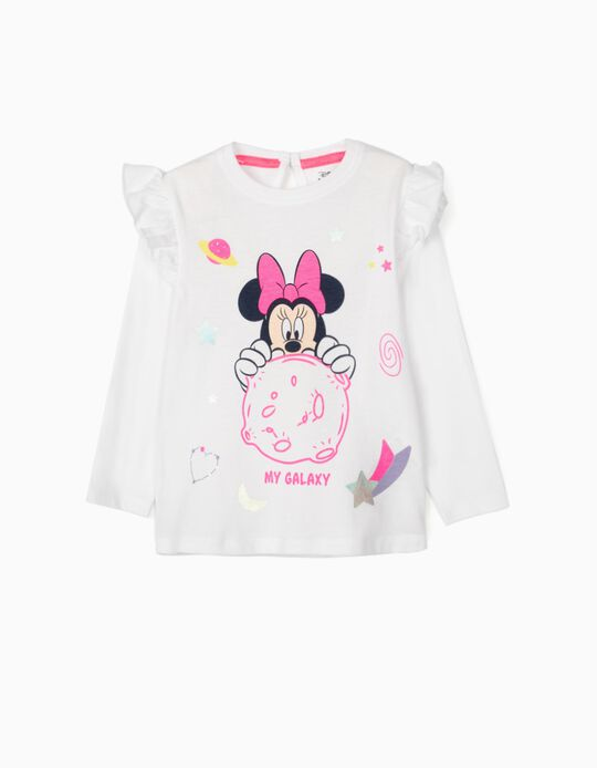 Long Sleeve Top for Baby Girls, 'Minnie Galaxy', White