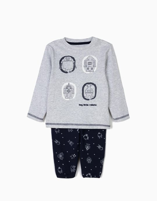 'Robots' Pyjamas for Baby Boys, Grey and Blue