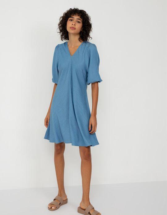 Thin Denim Dress, Women, Light Blue