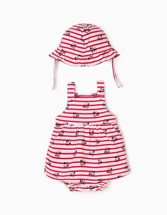 Dungaree Dress & Hat for Newborn Baby Girls, 'Disney', Red/White