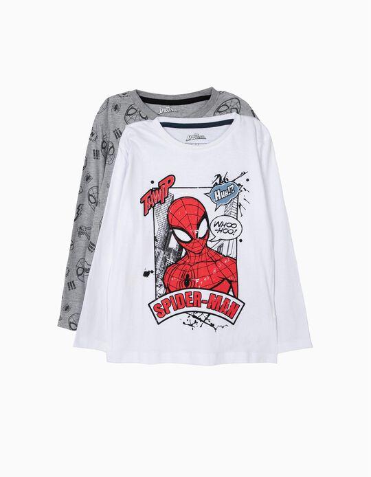 2 T-shirts Manga Comprida Spider-Man Branco e Cinzento