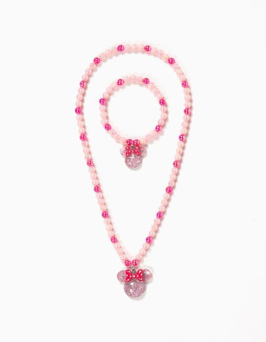 Pink Necklace & Bracelet Set, Minnie