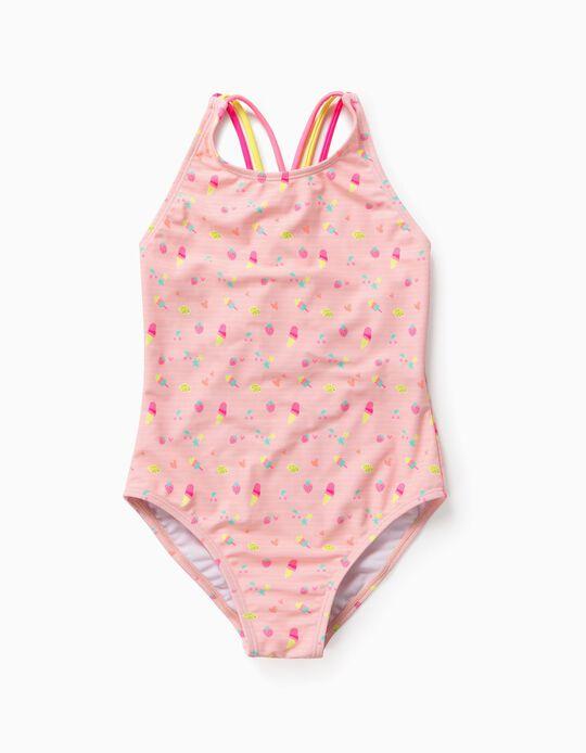 Fato de Banho Proteção UV 80 para Menina 'Summer', Rosa Claro