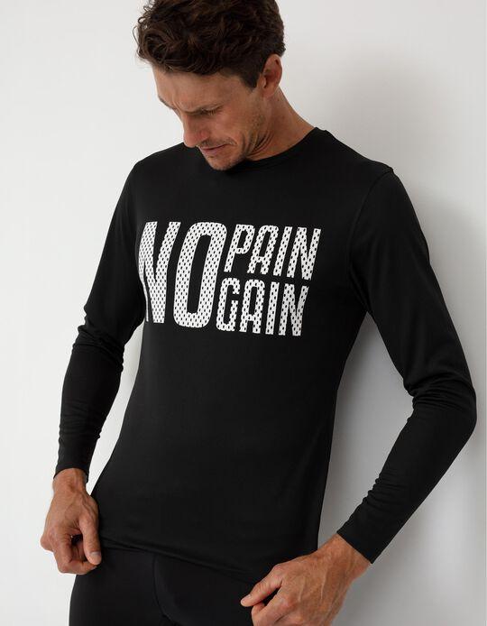 Long Sleeve Sports Top for Men, Black