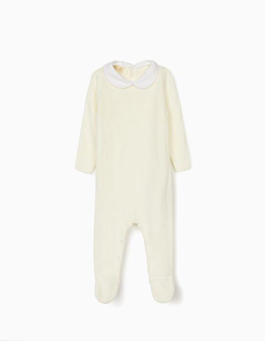 Knitted Babygrow for Newborn Baby Boys, White