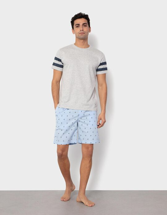 Pyjama Shorts, Palm Trees, for Men