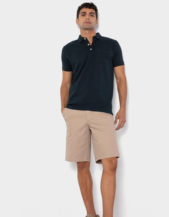 PiquéKnit Polo Shirt for Men, Dark Blue