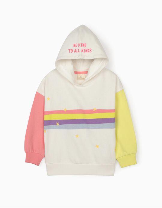 Hooded Sweatshirt for Girls, 'Be Kind', White