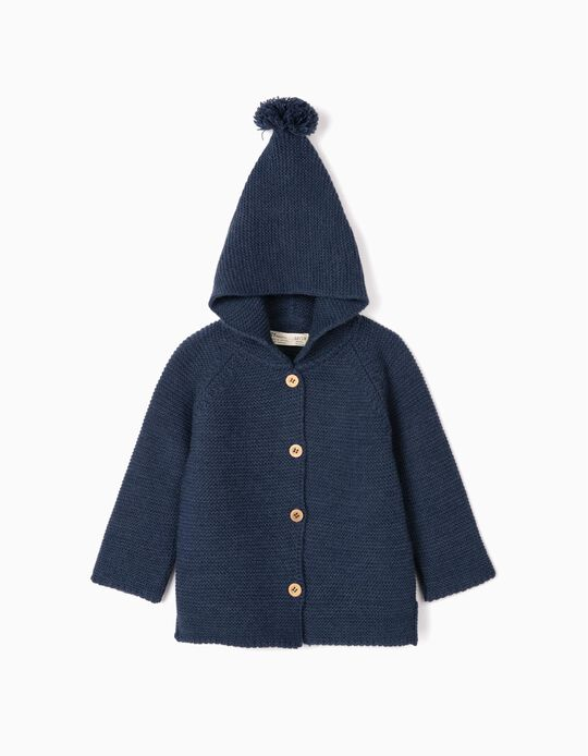 Hooded Cardigan for Baby Girls, Dark Blue