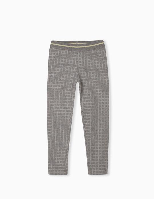 Chequered Leggings, Girls, Grey