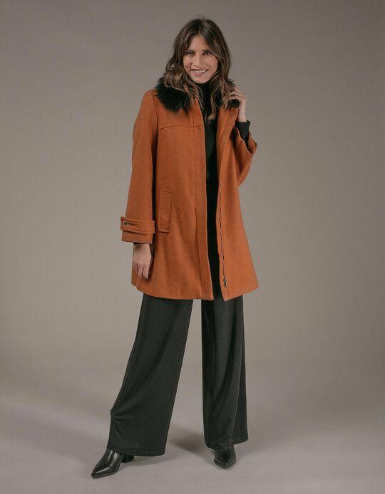 Woollen Fabric Jacket with Fur