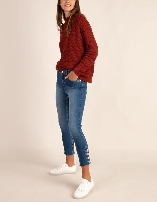 Jeans cropped com botões