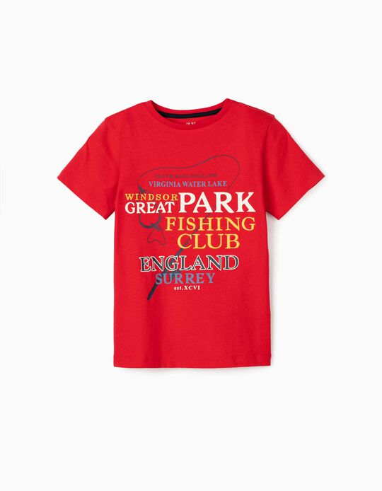 T-shirt for Boys, 'Fishing Club', Red
