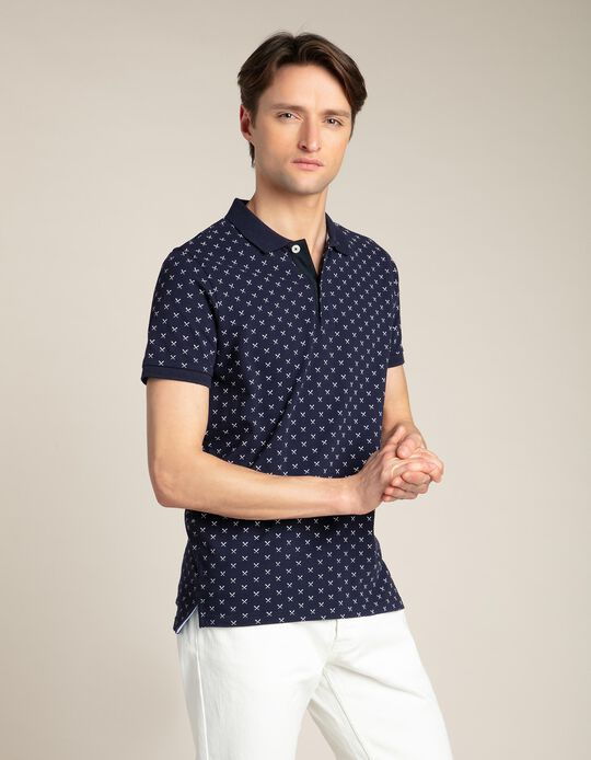 Piqué polo shirt with pattern