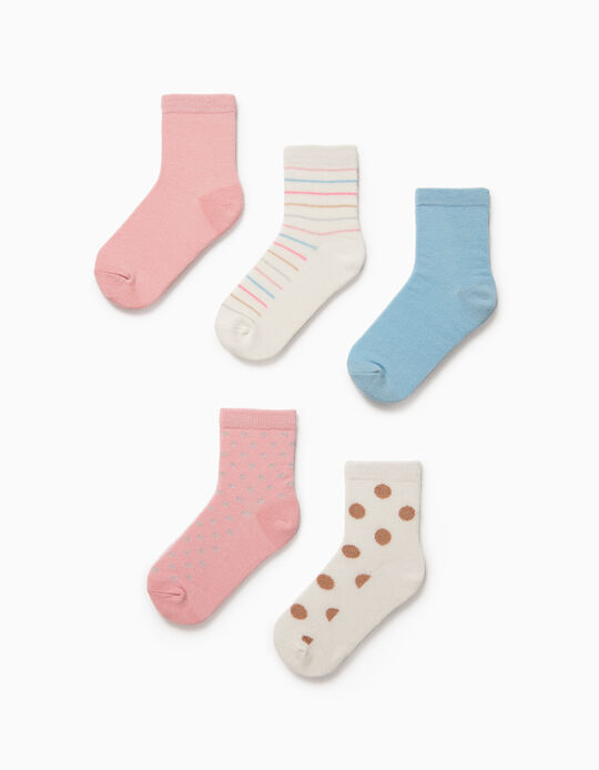 5 Pairs of Socks for Girls, 'Dots & Stripes', White/Pink/Blue