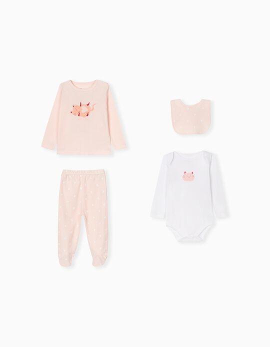 4-Piece Set, Babies, Pink